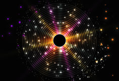 Abstract glow disc background. Sparkle in space. Star or black hole. CD cover design royalty free illustration
