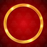 Abstract glow golden circle frame. Luxury template. For business card, banner, poster, notebook, invitation. Vector illustration for your design Stock Image
