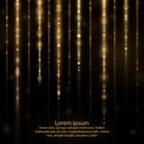 Abstract glow light lines. Abstract sparkly gold glitter effect with falling down luminous particles flyer template.Sparkling texture of star dust light sparks Vector Illustration