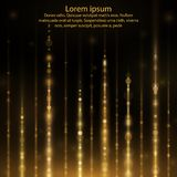 Abstract glow light lines. Abstract sparkly gold glitter effect with falling down luminous particles flyer template.Sparkling texture of star dust light sparks stock illustration