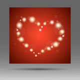 Abstract glow soft heart on red background Royalty Free Stock Photo