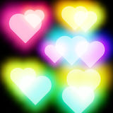 Abstract Glow Soft Hearts for Valentines Vector Royalty Free Stock Images