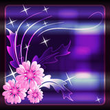 Abstract glowing background with flowers Stock Image