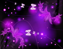 Abstract glowing background with lilies Royalty Free Stock Images