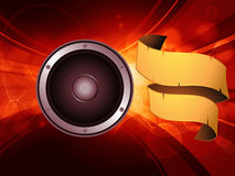 Abstract glowing background with speaker and banner Stock Photo