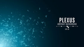 Abstract glowing background in the style of plexus. The flying triangles are blue in the dark. Big data. Modern technologies in de. Sign. Vector illustration Royalty Free Illustration