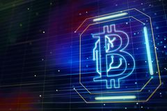 Abstract glowing bitcoin. And dark blue background with microchip. 3D render vector illustration
