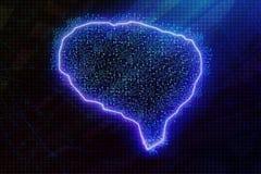 Glowing blue brain royalty free illustration