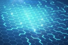 Blue hexagonal honeycomb. Abstract glowing blue honeycomb background. Technology concept. 3D Rendering Royalty Free Stock Photo