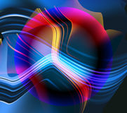 Abstract glowing blurred background with sphere, lines and waves Royalty Free Stock Photography