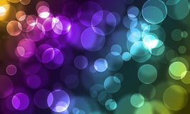 Abstract glowing circles. On a colorful background stock illustration