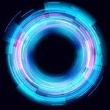 Abstract glowing circles on black background. Magic circle light effects. Illustration isolated on dark background stock illustration