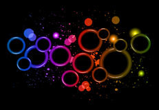 Abstract Glowing Circles of light with rainbow colors background. Stock Photography