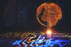 Technology and global business concept. Abstract glowing circuit background with polygonal globe. Technology and global business concept. 3D Rendering Stock Photo