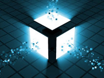 Abstract Glowing Cube. 3d Image Stock Photos