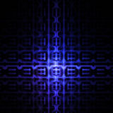 Abstract glowing detailed geometrical ornament on black background. Royalty Free Stock Image