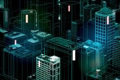 Digital city backdrop. Abstract glowing digital city backdrop. 3D Rendering stock illustration