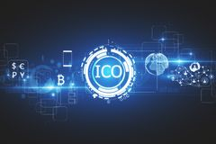 Commerce concept. Abstract glowing digital currency button ICO initial coin offering on virtual digital electronic user interface. Commerce concept. 3D Rendering Stock Images