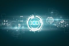 E-commerce concept. Abstract glowing digital currency button ICO initial coin offering on virtual digital electronic user interface. E-commerce concept. 3D Stock Photography