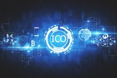Innovation concept. Abstract glowing digital currency button ICO initial coin offering on virtual digital electronic user interface. Investment concept. 3D Royalty Free Stock Images