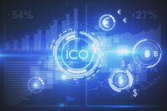Cryptocurrency concept. Abstract glowing digital currency button ICO initial coin offering on virtual digital electronic user interface. Cryptocurrnecy concept Royalty Free Stock Photo