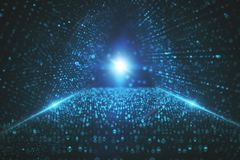 Digital tunnel background. Abstract glowing digital tunnel background. 3D Rendering Stock Photo
