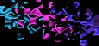 Abstract glowing distorted waveforms. Multicolor objects on black background stock illustration