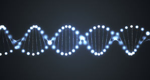 Abstract glowing DNA molecules on black background. 3D rendered illustration.  Royalty Free Stock Image
