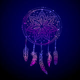 Abstract glowing dreamcatcher in blue and pink colors. Luminescence  illustration. Boho style background, ethnic design elem Royalty Free Stock Image