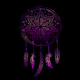 Abstract glowing dreamcatcher in blue and pink colors. Stock Photos