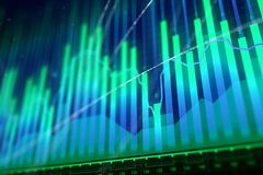 Market growth, finance and stock concept. Abstract glowing forex chart background. Market growth, finance and stock concept. 3D Rendering Stock Image