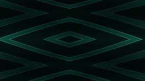 Abstract glowing geometric design with green lines on black background.  royalty free illustration
