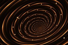 Abstract glowing golden spiral on a black background Royalty Free Stock Image