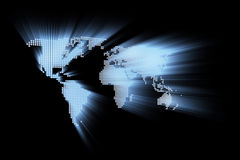 Abstract glowing hi-tech world map Stock Image