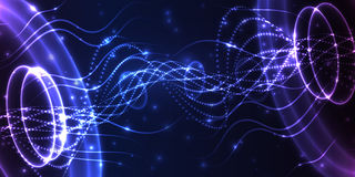 Abstract glowing lighs spiral. Blue lines background. Vector design. Stock Image
