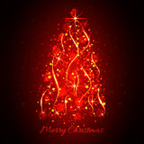 Abstract glowing light Christmas tree. Christmas background red Royalty Free Stock Image