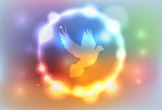 Abstract Glowing Lights Surrounding a Dove Illustration Royalty Free Stock Images