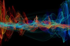 Free Abstract Glowing Lines Background. Wavy Form Neon Line Structure. Sound Wave Rhythm Background. Fire Wave Flames Digital Sound Royalty Free Stock Photo - 218572195