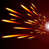 Abstract glowing lines of fire  on a dark background. Royalty Free Stock Photo