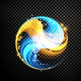 Abstract glowing lines in sphere. On transparent background, abstract digital dark illustration royalty free illustration
