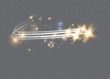 Free Abstract Glowing Magic Star Light Effect From The Neon Blur Of Curved Lines. Glittering Stars Dust Trail From The Side.flyi Stock Image - 98208401