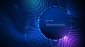 Illustration Abstract glowing, neon light effect, wave line, wavy pattern. Vector design communication techno on blue background. Futuristic digital technology stock illustration