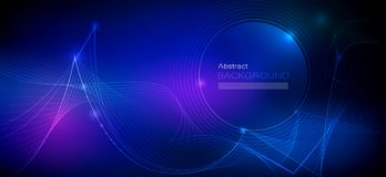Vector design communication techno on blue background. Futuristic digital technology for web or banner background. Illustration Abstract glowing, neon light vector illustration