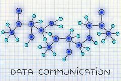 Abstract glowing network illustration with text Data Communicati Stock Photo