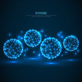Abstract glowing particles on dark blue background. Connection Structure. Geometric Modern Technology Concept. Sphere wireframe futuristic backdrop. Vector royalty free illustration