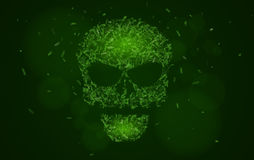 Abstract glowing skull of green color from the symbols. Tags of programming languages. Database. Hacking system hackers. Html, php. Css, java. Vector Stock Photo