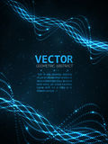 Abstract glowing spiral. Vector particles light. Blue lines background Stock Image