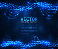 Abstract glowing spiral. Vector particles light. Blue lines background Royalty Free Stock Photo
