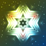 Glowing star on dark blue and green gradient background with sparkles. Abstract glowing star on dark blue and green gradient background with sparkles Royalty Free Stock Photography