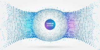 Abstract glowing technology circles with dots and binary code. Abstract hexagon connection structure. Geometric hexagon technology sphere. High tech digital Royalty Free Stock Photography